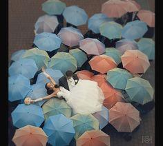 Umbrellas. Rainy wedding