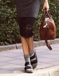 birkenstock skirt and socks