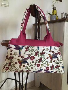 Sac City Zip-Zip colibri blanc et rose de Perles De Coco - Patron sac double compartiment Sacôtin