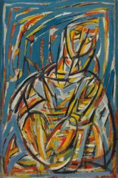 Elvire Jan, sans titre (1942).  (1904-1996)  Née en Bulgarie, cette peintre d'origine arménienne (famille Kouyoumjian) s'inscrit dans le courant de l'abstraction lyrique d'essence impressionniste, rattaché au mouvement de la nouvelle École de Paris.