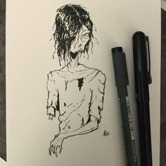 Day 1 of Inktober 2016. I hope I can make it this year :) Inktober2016 word: fast Drawlloween2016: back from the dead. I made a zombie, I guess he's decomposing fast :P