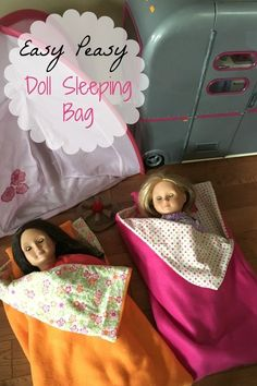 "Easy fleece doll sleeping bag  Great for beginners or kids learning how to sew!  Fits 18"" dolls and Build a Bears"