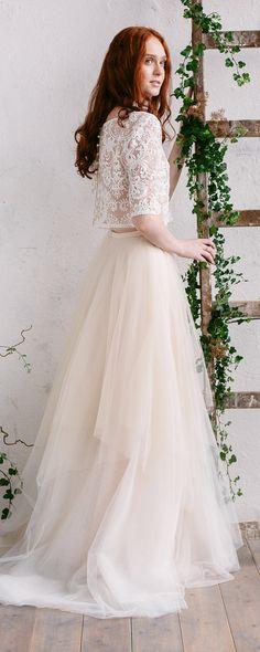 Wedding Skirt, Bridal Tulle Skirt , Ivory Gold Champagne Skirt , Wedding Separates , Floor Length Skirt, Bridal Skirt with Train - HAILEY