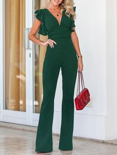 Women Summer Jumpsuit Long V Neck Ruffled Sleeveless Playsuit Bodycon Party Schwarzer Overall Outfit, Formal Jumpsuit, Summer Jumpsuit, Black Jumpsuit Outfit Night, Black Jumpsuit With Sleeves, Navy Jumpsuit, Long Jumpsuits, Fashion Jumpsuits, Stylish Clothes