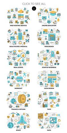 12 Duo Flat Line Illustrations by Becris on Line Design, Layout Design, Icon Design, Web Design, Graphic Design, Design Styles, Illustration Inspiration, Flat Design Illustration, Line Illustration