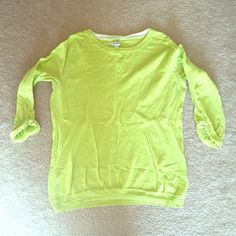 Old Navy size L sweater Highlighter color with 3/4 sleeves. In gently used condition. Starting to show signs of wear shown in fourth picture with start of pulling under the arms. Motivated to sell! Open to offers!!! Old Navy Sweaters Crew & Scoop Necks