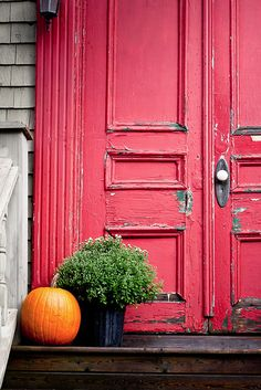 Autumn Porch ~ love the doors