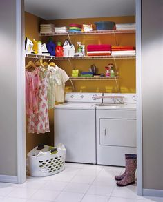 we could paint the laundry nook a bright color (NOT this yellow) and install extra wire shelving for more storage