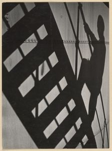 [Shadow of man on scaffolding]; Paul Wolff - about 1930 - 1940