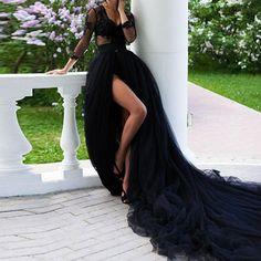 Tulle Wedding Skirt, Black Wedding Dresses, Elegant Dresses, Black Gowns, Wedding Gowns, Casual Dresses, Formal Dresses, High Street Dresses, Maxi Skirt Black