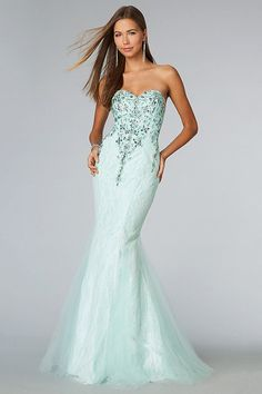 2014 Sweetheart Mermaid/Trumpet Prom Dresses Floor Length Beaded Bodice Tulle Mint