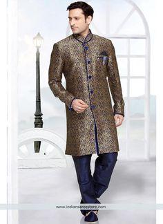 Blue Wedding Wear Brocade Indo Western Sherwani With Patch Work