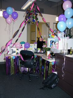 OFFICE CUBICLE Birthday Surprise Office Decorations Cubicle Ideas Fun