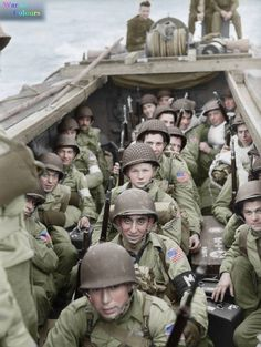 American troops of 16th Infantry Regiment, 1st Infantry Division on board a landing craft heading for the beaches at Oran in Algeria during 'Operation Torch', 8 November 1942.