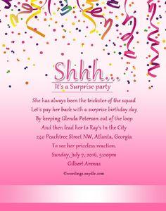 Pink Birthday Invitation Wording Samples
