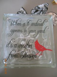 Lighted glass block with Cardinal saying by KurdtKreations on Etsy