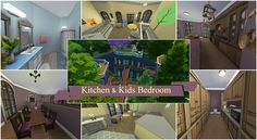 The kitchen and kids room of this muti complex build. TBH this was my favourite build out of all the house builds i've done on this channel! Sims 4 House Building, Sims 4 Houses, Kids Bedroom, Geek, Kitchen, Cooking, Geeks, Kitchens, Cucina