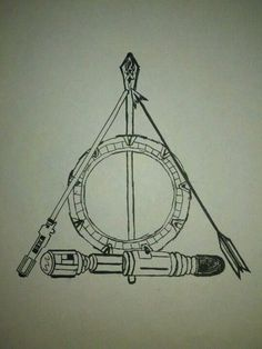 "Pinner said ""My daughter drew this earlier this year as a tattoo idea for the ubergeek inside. It covers: Doctor Who, Stargate, Harry Potter, Star Wars, Lord of the Rings and The Hunger Games"". Kudos to whoever originally pinned this! It's awesome!"
