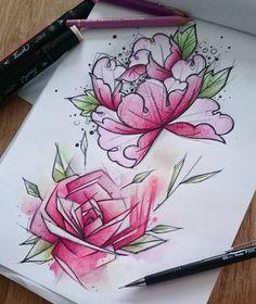 Fleur fleur fleur, avec placement de produits, entraînement du jour. #dessin #croquis #pic #picoftheday #drawing #draw #drawofinsta #sketch #graphique #fleurs #flowers #rose #pivoine #peony #flash #fortementtatouable #couleur #color #bonnejournée