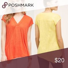 Anthropologie pieced linen tee Linen Hand wash Imported Selling in the orange/red color. Brand tag cut Anthropologie Tops