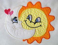Little Moon 04 Machine Applique Embroidery Design Baby Moon Applique Tutorial, Applique Templates, Applique Embroidery Designs, Machine Embroidery Applique, Free Machine Embroidery Designs, Applique Patterns, Applique Quilts, Owl Templates, Felt Patterns