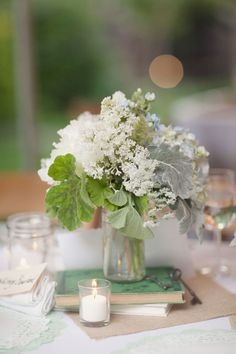 Love the books and the vintage keys as a centerpiece