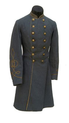 """Confederate Cavalry Lieutenant's frock coat worn by G. Julian Pratt of the 18th Virginia Cavalry, Imboden's Brigade, of cadet gray wool broadcloth. Faded yellow broadcloth piping on the collar, the front edge of the coat and the pocket flaps and vents. Sewn into the collar are two flat ½"""" gold braid bars indicating Pratt's rank of 1st Lieutenant.  He saw action at Gettysburg, New Market, Piedmont and Third Winchester where he was wounded on September 19, 1864."""