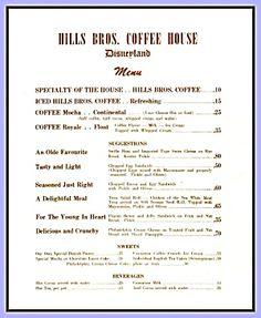 Disneyland Hills Bros. Coffee House, Vintage Menu 1950s