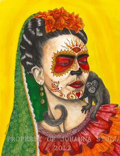 Frida Kahlo day of the dead print