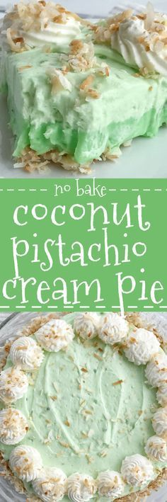 This no bake coconut pistachio cream pie is the perfect summer dessert. No oven needed! It's so easy to make with a toasted coconut crust and two layer of creamy and cool pistachio pudding and whipped cream.