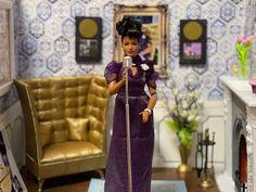 Ella Fitzgerald Barbie Diorama – DeeBeeGee's Virtual Black Doll Museum™ Doll Museum, Barbie Diorama, Ella Fitzgerald, Fireplace Accessories, Album Covers, Cold Shoulder Dress, Dolls, Elegant, Celebrities