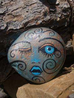 Stella BLUE with a Metallic Hue  garden pet rock door MyGardenRocks