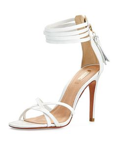 Strappy Tassel Leather Sandal, Pearl by Schutz at Neiman Marcus Last Call.