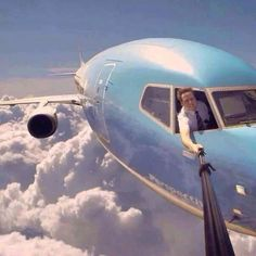 Most original Selfie ever!  Of course it's 'shopped'.  Commercial jets go far to fast to allow you to stick anything out a windshield, but it's so funny I had to post it anyway.