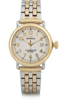 Shinola Runwell gold-plated and stainless steel watch | NET-A-PORTER