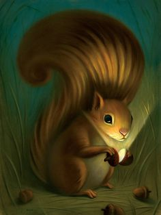 Squirrel Painting by artist Chris Buzelli