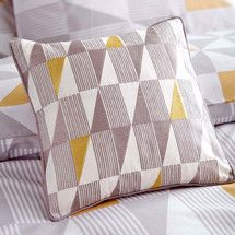 Yellow Skandi Geometric Collection Square Cushion   Dunelm