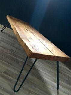 Slovensky-Italiano-English  Pripravili sme pre Vás originálny retro stôl z prírodného materiálu v kombinácii s kovovými nohami. Masívna drevená doska je ručne opracovaná a v závere... Dining Table, Wood, Handmade, Furniture, Home Decor, Madeira, Homemade Home Decor, Diner Table, Hand Made
