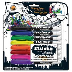 Stained by Sharpie - Fabric Markers to Stain your Stuff (t-shirts, canvas shoes, or plain fabrics that need some pizazz)