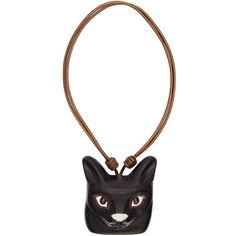 Loewe Black Cat Face Necklace (€620) ❤ liked on Polyvore featuring jewelry, necklaces, black, cat pendant, cat necklace, cat pendant jewelry, leather cord jewelry and pendant jewelry