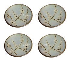 """4 PCS. Japanese 4""""D Plate / Coaster Set, Grey Ume Cherry Blossom, Made in Japan"""