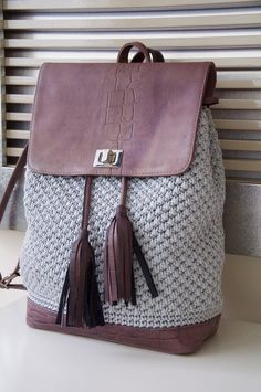 Original handmade crochet backpack Made by me with the original leather