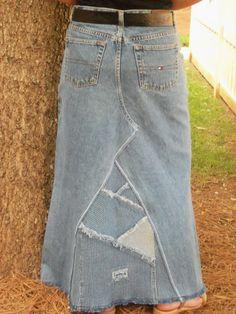 Vintage Western Jean Skirt, Womens Modest Fashion Western LongJean ...