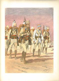 French; Tirailleurs Algériens. Détachement en colone. By Maurice Toussaint from 'LES UNIFORMES DE L'ARMEE FRANCAISE, 1935'