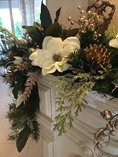 Vintage French Soul ~ Christmas Garland, Magnolia Garland, 9 foot 50 cordless light with timer set up, Artificial, Free Christmas Fireplace, Christmas Mantels, Gold Christmas, Country Christmas, Beautiful Christmas, Christmas Home, Christmas Wreaths, Christmas Crafts, Christmas Island