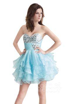 A-Line Sweetheart Short-Mini Organza Homecoming Dress #cocomelody