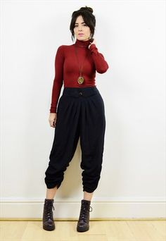 80s+black+cropped+harem+trousers