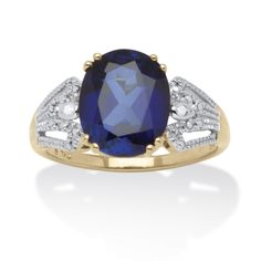 3.80 TCW Blue Sapphire Oval-Cut Ring With Diamond Accents in 18k Gold Over Sterling Silver