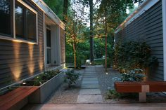 Paver path with espalier frame and viroc planters - contemporary - landscape - dc metro - Jennifer Horn Landscape Architecture Residential Architecture, Landscape Architecture, Landscape Design, Paver Path, Narrow Garden, Public Space Design, Outdoor Spaces, Outdoor Decor, Tree Lighting