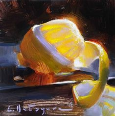 Lemon Lights by Elena Katsyura Oil ~ 6 in x 6 in Food Art Painting, Fruit Painting, Cool Paintings, Cool Artwork, Lemon Art, Acrylic Painting Inspiration, Apple Art, Traditional Paintings, Weird Art
